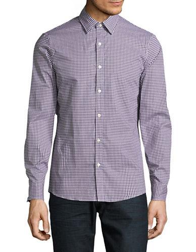 Michael Kors Gingham Stretch Shirt-PURPLE-Small