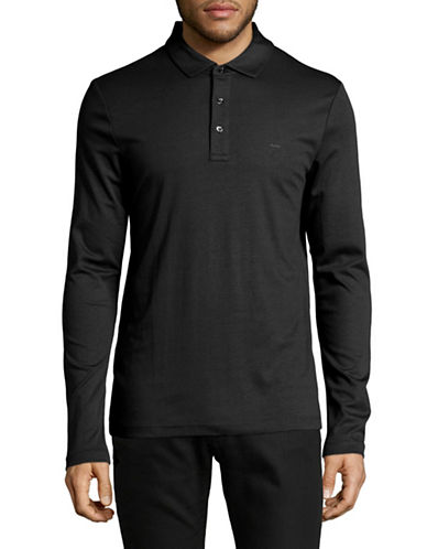 Michael Kors Long Sleeve Polo-BLACK-Large