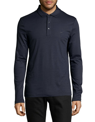 Michael Kors Long Sleeve Polo-BLUE-Medium