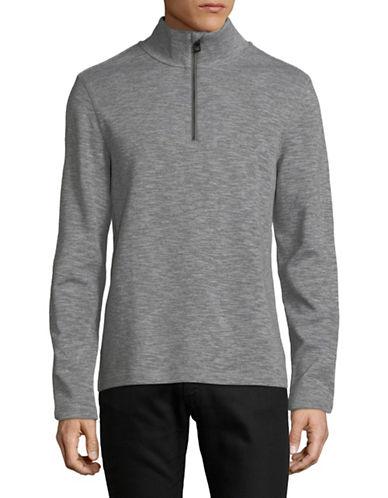 Michael Kors Cotton Half Zip Sweater-GREY-X-Large