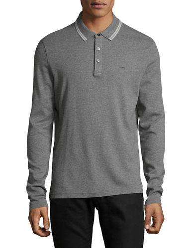Michael Kors Long Sleeve Polo-GREY-XX-Large