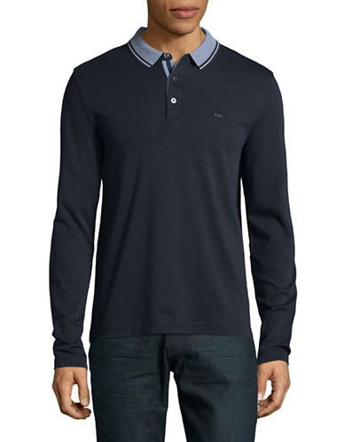 Michael Kors Long Sleeve Polo-BLUE-X-Large
