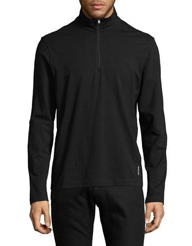 Michael Kors Bryant Half Zip Sweater-BLACK-XX-Large