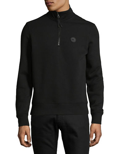 Michael Kors Fleece Quarter-Zip Sweatshirt-BLACK-XX-Large