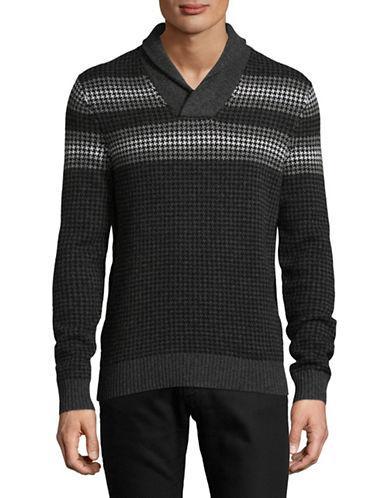Michael Kors Houndstooth Merino Wool Sweater-BLACK-X-Large