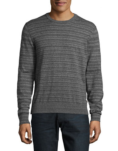 Michael Kors Marled Striped Cotton Sweater-GREY-Small