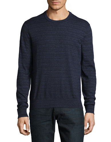 Michael Kors Marled Striped Cotton Sweater-BLUE-Small