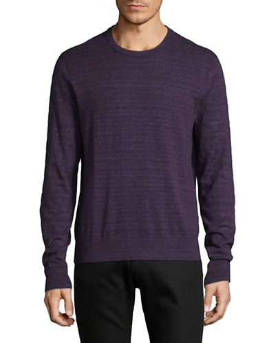 Michael Kors Marled Striped Cotton Sweater-PURPLE-XX-Large