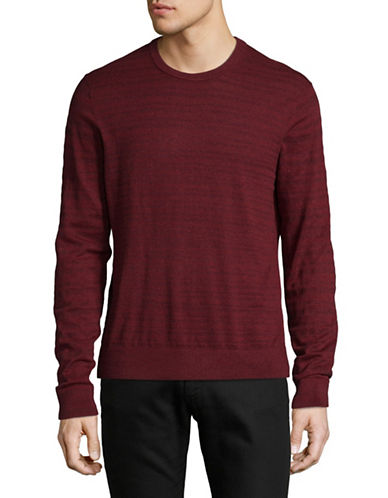 Michael Kors Marled Striped Cotton Sweater-RED-X-Large