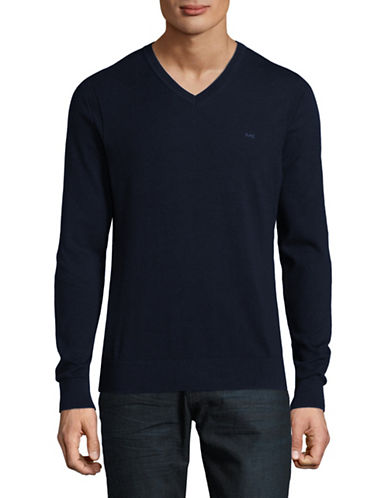Michael Kors V-Neck Cotton Sweater-MIDNIGHT BLUE-Medium