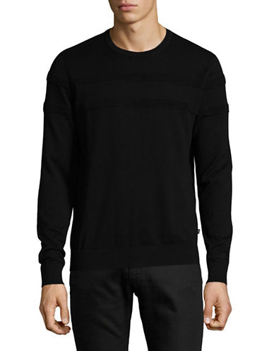 Michael Kors Rib-Stripe Sweater-BLACK-Medium