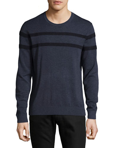 Michael Kors Rib-Stripe Sweater-DARK BLUE-Large