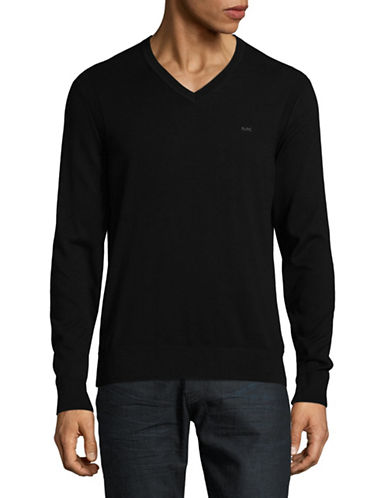 Michael Kors V-Neck Cotton Sweater-BLACK-Large