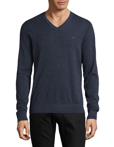 Michael Kors V-Neck Cotton Sweater-BLUE-Small