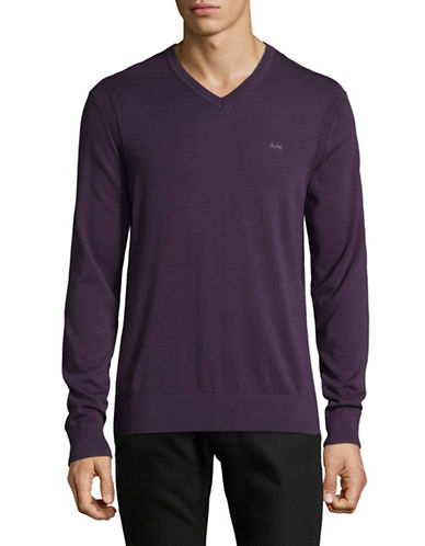 Michael Kors V-Neck Cotton Sweater-PURPLE-Small