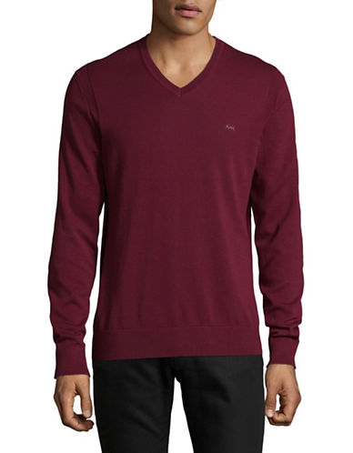 Michael Kors V-Neck Cotton Sweater-RED-Large