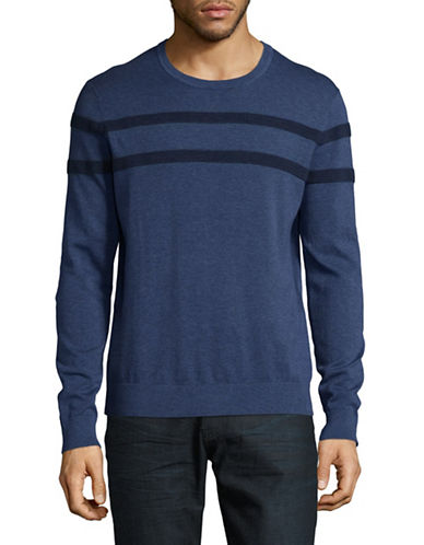 Michael Kors Rib-Stripe Sweater-BLUE-Large
