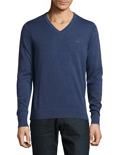 Michael Kors V-Neck Cotton Sweater-DENIM BLUE-Large