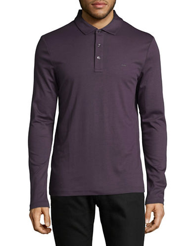 Michael Kors Long Sleeve Polo-PURPLE-Small