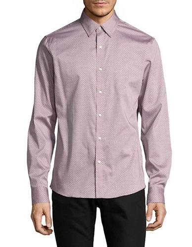 Michael Kors Slim Shae Print Cotton Sport Shirt-RED-Small