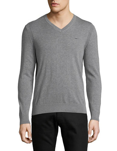Michael Kors V-Neck Cotton Sweater-GREY-X-Large