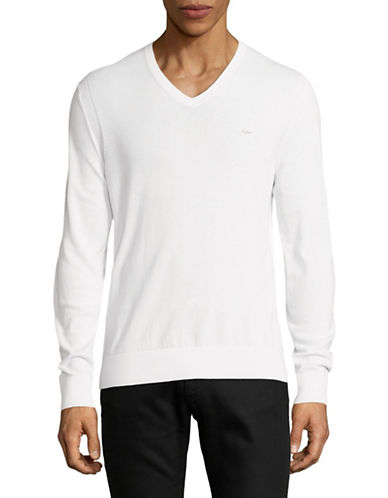 Michael Kors V-Neck Cotton Sweater-WHITE-Large