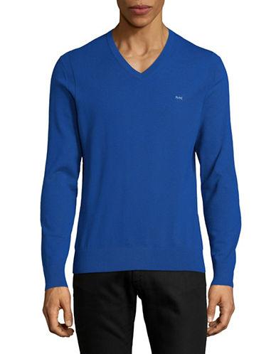 Michael Kors V-Neck Cotton Sweater-ROYAL BLUE-X-Large