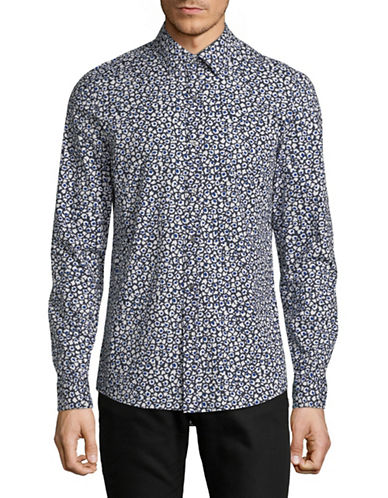 Michael Kors Fitz Printed Sport Shirt-BLUE-Small