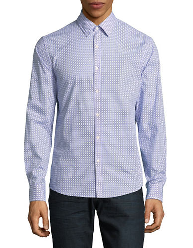 Michael Kors Espen Printed Slim-Fit Cotton Sportshirt-BLUE-Small