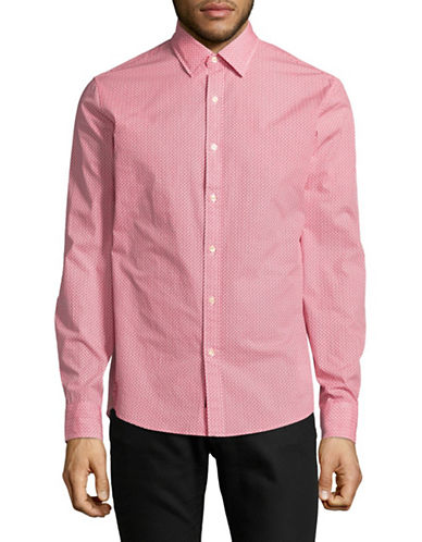 Michael Kors Ander Printed Slim-Fit Cotton Sportshirt-RED-Large