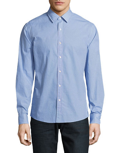 Michael Kors Ander Printed Slim-Fit Cotton Sportshirt-BLUE-Medium
