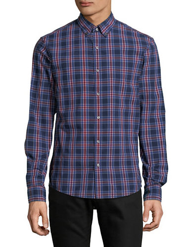 Michael Kors Acton Check Slim-Fit Cotton Sportshirt-RED-Medium
