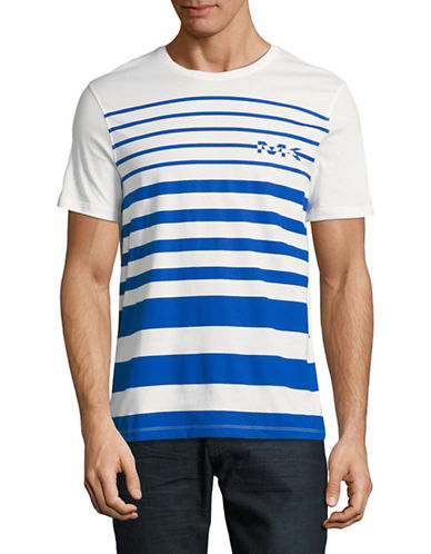 Michael Kors Short Sleeve Striped Logo Tee-WHITE-Medium
