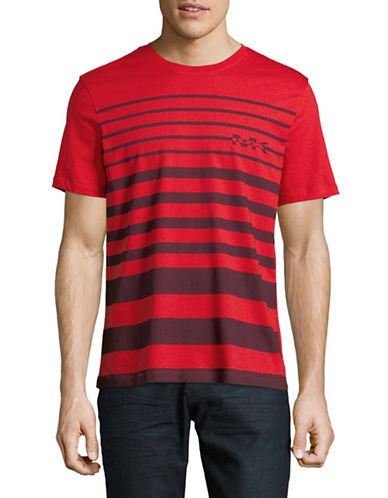 Michael Kors Short Sleeve Striped Logo Tee-RED-Small