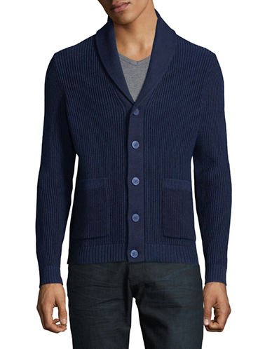Michael Kors Shawl Collar Ribbed Cardigan-BLUE-X-Large