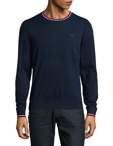 Michael Kors Long Sleeve Crew Neck Sweater-BLUE-Small