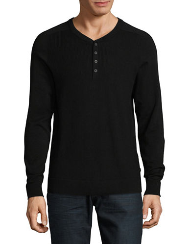 Michael Kors Thermal Stitch Cotton Henley-BLACK-Small