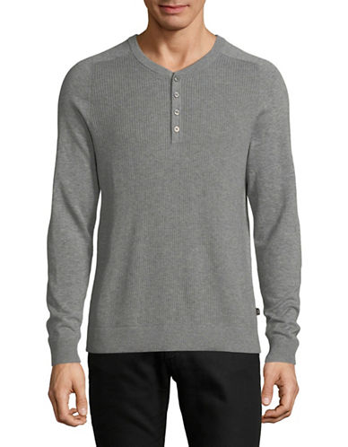 Michael Kors Thermal Stitch Cotton Henley-GREY-Large