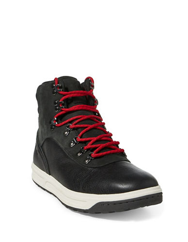 Polo Ralph Lauren Leather Hi-Top Sneakers-BLACK-7.5
