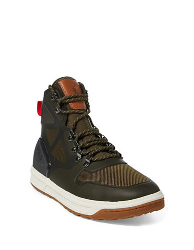 Polo Ralph Lauren Mesh Detail Hi-Top Sneakers-GREEN-9