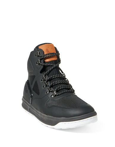 Polo Ralph Lauren Mesh Detail Hi-Top Sneakers-BLACK-7.5
