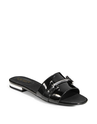 Lauren Ralph Lauren Open Toe Slides-BLACK-7.5