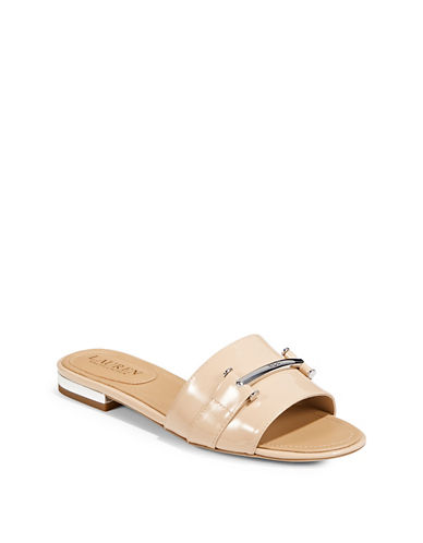 Lauren Ralph Lauren Open Toe Slides-STRAW-7.5
