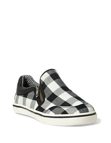 Lauren Ralph Lauren Womens Side Zip Slip-On Sneakers-BLACK/WHITE-9.5