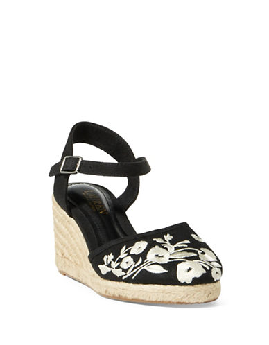 Lauren Ralph Lauren Embroidered Linen Espadrilles-BLACK-5.5