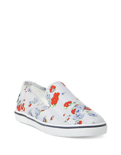 Lauren Ralph Lauren Womens Striped and Floral Slip-On Sneakers-FLORAL PRINT-5