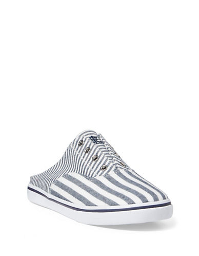 Lauren Ralph Lauren Jaida Striped Laceless Cotton Sneakers-NAVY / WHITE-6