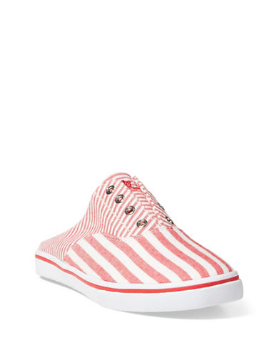 Lauren Ralph Lauren Jaida Striped Laceless Cotton Sneakers-RED / WHITE-5