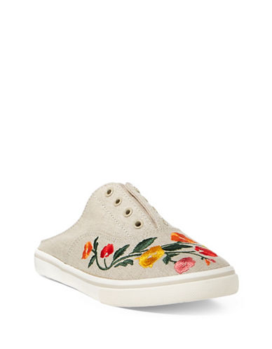 Lauren Ralph Lauren Embroidered Slide Sneakers-FLAX-8.5