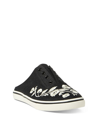 Lauren Ralph Lauren Embroidered Slide Sneakers-BLACK-5.5